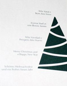 Multiple language greeting card Christmas tree design