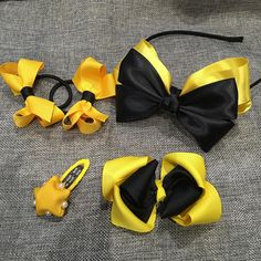 Just made a set of black and yellow clips and headband. Just another inspired by…