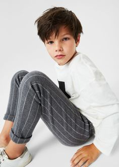 Stripy jogging trousers - Boy   MANGO Kids Denmark