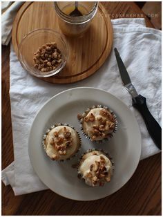 Maple cupcakes with maple butercream, toasted walnuts and a maple rye whiskey butter glaze. - Cupcake Rehab