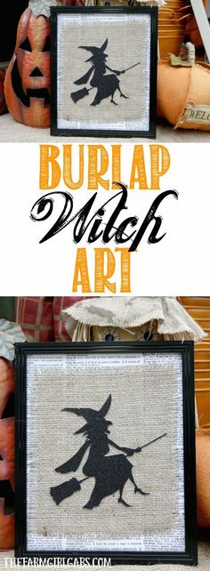 Add some bewitching fun to your Halloween decor. This simple Framed Burlap Witch Art is an easy fall DIY craft project to make. Three cheers for simple Halloween Crafts.