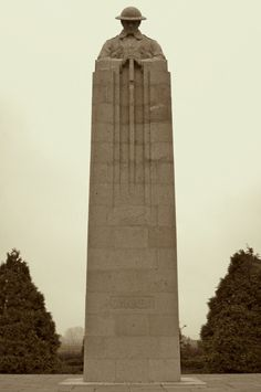 The impressive Brooding Soldier, a Canadian monument to the first Gas attack, Ypres battlefield, Belgium.