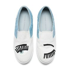 "Silver and gold glitter ""Flirting"" Slip-ons with patent leather and suede embroideries. Light blue leather lining and insole. Made in Italy"