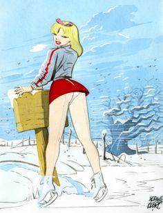 La pin-up de l'hiver par Serge Clerc dans les années 80 - Librairie La comete de Carthage