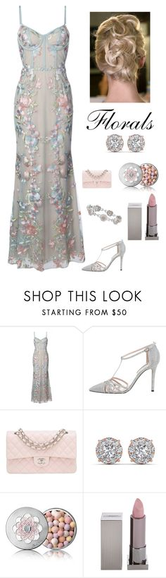 """Floral Elegance"" by kotnourka ❤ liked on Polyvore featuring Notte by Marchesa, Sarah Jessica Parker, Chanel, Guerlain, Lipstick Queen and Blue Nile"
