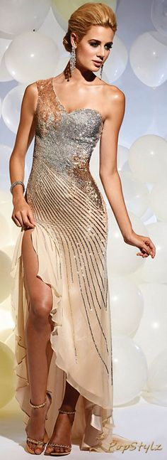 Terani Couture - Gold & Silver Gown, Don't look at her toes! Silver Gown, Evening Dresses, Prom Dresses, Bridesmaid Dress, Mode Glamour, Terani Couture, Designer Gowns, Beautiful Gowns, Gorgeous Dress