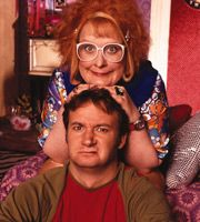 Gimme Gimme Gimme. Image shows from L to R: Linda (Kathy Burke), Tom (James Dreyfus). Image credit: Tiger Aspect Productions.