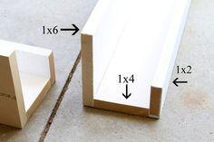 """Supply breakdown: 8 feet, 1×6 (three shelves at @ 27"""" each) 8 feet 1×4 8 feet 1×2…………………………….Total of $28.00 Wood Glue & Nails/nail gun, paint—already had"""