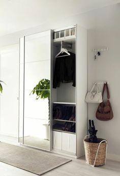 corridor set up hallway wardrobe in white with mirror beige carpet by wohnklamotte Hall Mirrors, Hallway Mirror, Entry Hallway, Entrance Hall, Mirror Set, Entryway, Ikea Hallway, Hallway Storage, Armoire Entree