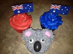 Australia themed cupcakes Leaving Party, Around The World Theme, Themed Cupcakes, Cupcake Ideas, Shower Ideas, Party Ideas, Australia, Spaces, Baking