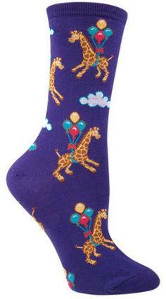 Purple crew length giraffe with balloons socks