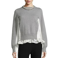 Sacai Pearl & Lace Colorblock Sweatshirt (8.721.695 IDR) ❤ liked on Polyvore featuring tops, hoodies, sweatshirts, apparel & accessories, crewneck sweatshirt, lace top, crew neck pullover, lace pullover and color block tops
