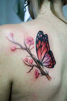 Mini Tattoos, Body Art Tattoos, Cool Tattoos, Tatoos, Purple Butterfly Tattoo, Butterfly Tattoo Designs, Hairstylist Tattoos, Dandelion Wall Decal, Blossom Tree Tattoo