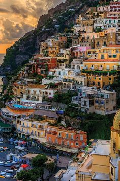 POSITANO, ITALY  Italy's Amalfi Coast might just be the most romantic spot on the planet. Case in point: The cliffside town of Positano, with its crayola-colored houses and wild flowers cascading down toward the glistening Tyrrhenian Sea.