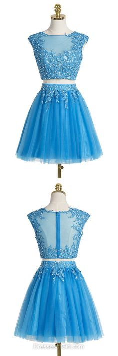 Blue Homecoming Dresses, Short Prom Dresses, Two Piece Party Dresses, Lace Cocktail Dress, Cheap Formal Dress