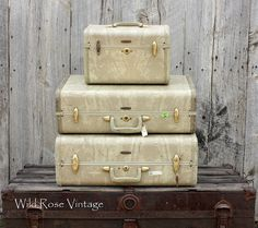 old suitcases as decorations