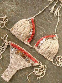Crochet bikini embelished with beads and shells, Shell bathing suit, Micro bikini, Crochet swimsuit, Boho Crochet, Hand Crochet, Crochet Bikini, Knit Crochet, Bikini Swimwear, Swimsuits, Bikini Beach, Corset Sewing Pattern, Burning Man Outfits