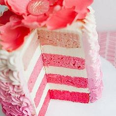 Pink layered wedding or birthday cake - delicious