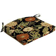 Garden Treasures�Floral Black Reversible Outdoor Seat Pad