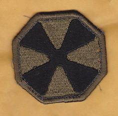U.S. ARMY 8th ARMY Shoulder Patch, Subdued Black on OD, Vietnam- Cold War