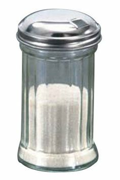 American Metalcraft SAN316 Plastic Sugar Shaker with Lid, 12-Ounce by American Metalcraft. $2.80. It is ideal for both restaurant and home use. Dishwasher safe and stain proof. Made of SAN plastic base and stainless steel top. Comes in 12-ounce capacity. Sugar shaker with lid. This sugar shaker with lid. The SAN plastic base and stainless steel top. Shakers have standard straight sided fluted shape. Perfect for all varieties of crystalized table sugars, this sugar shaker wi...