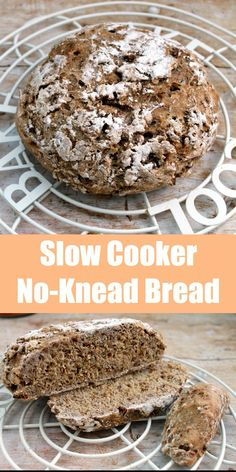 A rustic loaf of bread baked in your slow cooker with no kneading required, only 5 minutes hands-on time. Great to avoid heating up the kitchen in the summer
