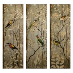 Chinoiserie painted bird panels