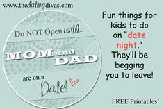 Kid date night envelope, makes the actual LEAVING part of a date, a breeze! www.thedatingdivas.com #creativedates #kids #freeprintable