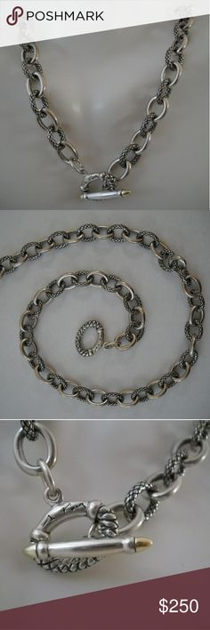 """Deaigner ANN KING Sterling Silver & 18K Necklace This heavy, solid piece is clean and in like-new condition weighing a shocking 53.0g and measures 15.5"""". Ann King Jewelry Necklaces"""