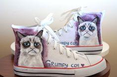 Grumpy cat handpainted shoes ,cat shoes, internet cats, for cat lovers, unique gift