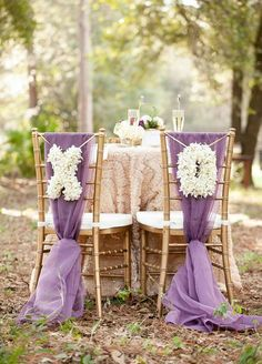 Fabulous floral letters are the perfect addition to purple chair sashes.