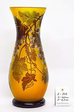 Galle Art Nouveau Cameo Glass Vase With Grapes - French