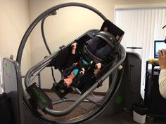 Katarina Blackwell uses the Epley Omniax chair at Fyzical Therapy & Balance Centers in Las Vegas. (Elizabeth Watts/FOX5)