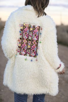 white coat Fur Embroidery Embellished boho ethnic Tribal
