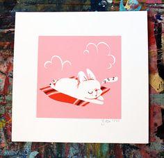 Reggie Sleeping screen print | Etsy