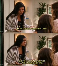 """""""I am not good at saying no, okay? One time I left a flea market with a samurai sword."""" - The Mindy Project"""