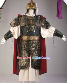 chinese armor and weapons | Ancient Chinese Three Kingdoms General Armor Costume and Helmet ...