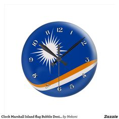 """Clock Marshall Island flag Bubble Design, Style: Round (Medium) It's time to show off your favorite art, photos, and text with a custom round wall clock from Zazzle. Featured in two sizes, this wall clock is vibrantly printed with AcryliPrint®HD process to ensure the highest quality display of any content. Order this custom round wall clock for your walls or give to friends and family as a gift for a timeless treasure.  2 sizes: 8"""" diameter (medium) or 10.75"""" diameter (large). Material: Grad"""