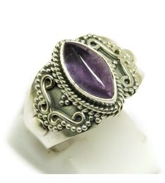 Amethyst Purple Color Oxidized Ring Marquise Shape Silver Ring