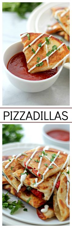 Pizzadillas are the cheesy pizza toppings you love inside warm flour tortillas. They're quesadillas meets pizza and they're perfect Super Bowl Party-Food! Think Food, I Love Food, Tapas, Snacks Für Party, Party Appetizers, Quick Party Food, Football Food, Quesadillas, Sauces
