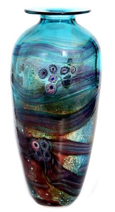 Watergarden vase by Jonathan Harris studio glass Ltd has it all: glass, dark blue colors, and swirls! Art Of Glass, My Glass, Glass Vessel, Glass Ceramic, Art Nouveau, Art Deco, Jonathan Harris, Stained Glass Windows, Glass Design