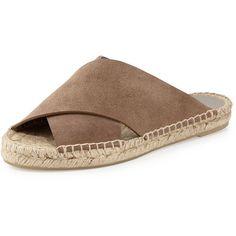 Vince Castel Suede Crisscross Slide Sandal featuring polyvore, women's fashion, shoes, sandals, pumice, espadrille sandals, suede espadrilles, flat pumps, espadrille flats and slide sandals