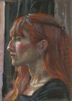 Profil d'une Jeune Femme Rousse - Pastel Gras sur Papier - 30 x 40 cm