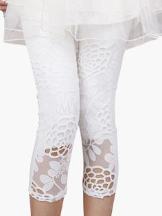 Embroidered Lace Cropped Leggings Shape Your Wardrobe With a Collection Of Dresses, Jewelry, Shoes, Bags and More. Cute Leggings, Knit Leggings, Tight Leggings, Fashion Pants, Look Fashion, Belly Dance Bra, Vegas Dresses, Comfortable Outfits, Embroidered Lace