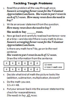 Math Coach's Corner: Tackling Tough Problems, Part 2.  These steps work best on a certain type of problem--one where they need to decide whether to add, subtract, multiply, divide, or a combination of the operations.  My rule of thumb is that if it sounds like a story when you read it (setting, characters, etc.), you can probably solve it by drawing.