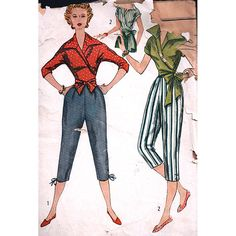 Misses Wrap around Blouse, Pedal Pushers- estimated vintage 1950s  Size: 14  Used  Pattern pieces and instructions in good shape. Envelope is faded and cracked on all sides