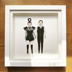 Winging it over to California is this portrait of a fun couple. illustration chunkydumpling shared a new photo on Etsy Deep Box Frames, Sharpie Pens, Pen And Watercolor, Portrait Illustration, Couple Portraits, Paper Dolls, My Drawings, Anniversary Gifts, Wedding Gifts