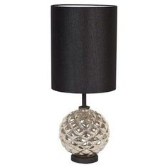 Matalic silver painted lamp with black painted shade.. LuxTouch Vintage furniture and decor