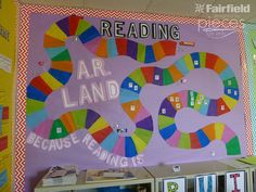 Pieces by Polly: Candy Land Reading Bulletin Board with Oly-Fun - Teacher Appreciation Idea Candy Bulletin Boards, Interactive Bulletin Boards, Classroom Bulletin Boards, Preschool Bulletin, Candy Theme Classroom, Candy Land Theme, Classroom Decor, Apple Classroom, Classroom Displays