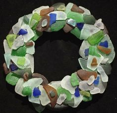 Sea Glass Wreath with Authentic Sea Glass by oceansbounty on Etsy, $38.00